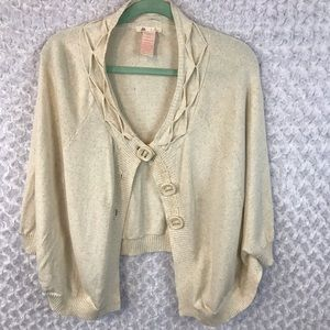 Tulle Three Button Poncho Cardigan